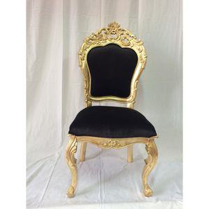 DECO PRIVE - chaise de style italien aspect cuir noir et bois d - Chaise