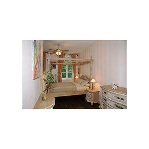 DECO PRIVE - lit à baldaquin en bois cérusé - Lit Double À Baldaquin