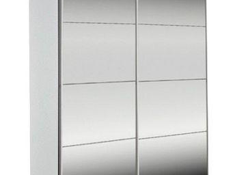 WHITE LABEL - dressing kick 152cm miroir et cadre blanc avec por - Armoire Dressing