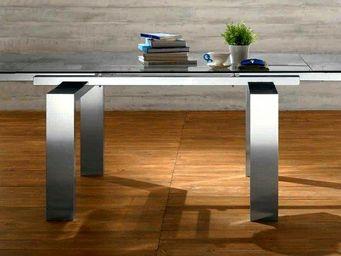 WHITE LABEL - epsylon table repas extensible, plateau en verre,  - Table De Repas Rectangulaire