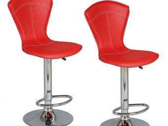 WHITE LABEL - lot de 2 tabourets de bar beautiful rouge - Chaise Haute De Bar