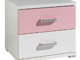 WHITE LABEL - chevet valentine 2 tiroirs blanc et rose - Table De Chevet