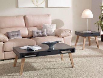 WHITE LABEL - table basse nory gris anthracite dotée 1 tiroir et - Table Basse Rectangulaire