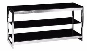 WHITE LABEL - meuble tv design spring en verre noir - Meuble Tv Hi Fi