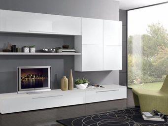 WHITE LABEL - composition murale tv design primavera blanche - Meuble Tv Hi Fi