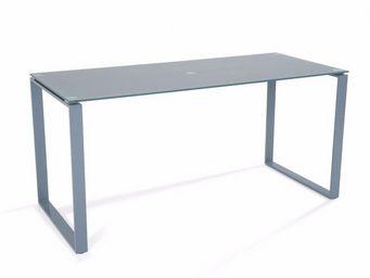 WHITE LABEL - bureau nasdrovia en verre trempé gris 160 cm - Bureau