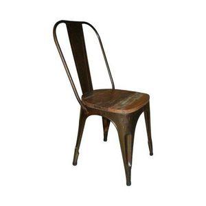 WHITE LABEL - chaise vintage annata en acier vieilli - Chaise