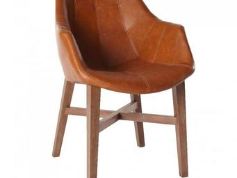WHITE LABEL - chaise design hermes cognac en bois massif - Chaise
