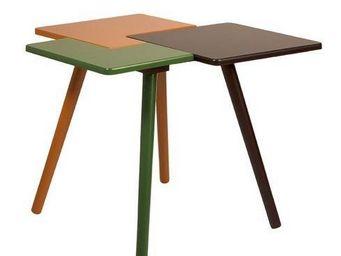 ZUIVER - table basse triple de dutchbone en bois 50 x 50 x  - Table Basse Forme Originale