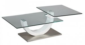 WHITE LABEL - table basse knock en verre transparent plateaux pi - Table Basse Forme Originale