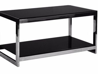 WHITE LABEL - table basse design summer en verre noir - Table Basse Rectangulaire