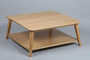 WHITE LABEL - table basse olga en chêne massif - Table Basse Carrée