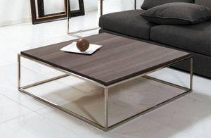 WHITE LABEL - table basse carré mimi noyer - Table Basse Carrée