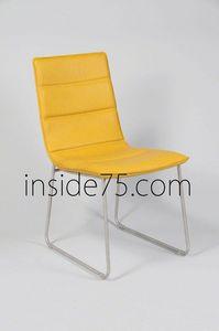 WHITE LABEL - chaises design dodge façon cuir jaune piétement mé - Chaise
