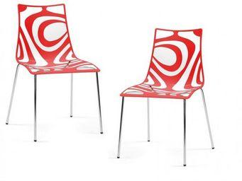 WHITE LABEL - lot de 2 chaises design tribal transparente et rou - Chaise