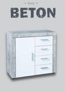 WHITE LABEL - buffet 1 portes et 4 tiroirs aspect béton et blanc - Buffet Bas