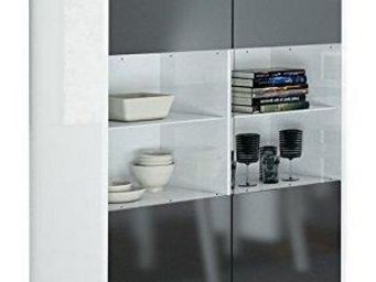 WHITE LABEL - vitrine bali blanche avec 2 portes grises - Buffet Haut