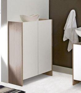 WHITE LABEL - meuble de salle de bain dova 2 portes blanches et - Meuble De Salle De Bains