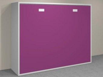 WHITE LABEL - armoire lit transversale agata mauve couchage 140* - Lit Escamotable