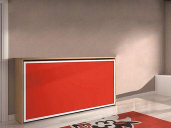 WHITE LABEL - armoire lit transversale city, cerisier et rouge.  - Lit Escamotable