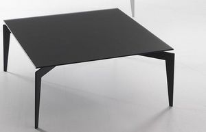WHITE LABEL - table basse tobias design en verre trempé noir - Table Basse Carrée