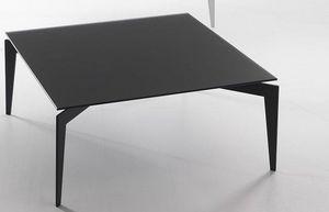 WHITE LABEL - table basse tobias design en verre trempé noir - Table Basse Carrée