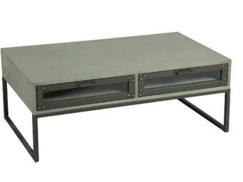 WHITE LABEL - table basse tv industry cérusé gris avec 2 tiroirs - Table Basse Rectangulaire