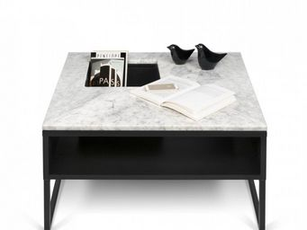 TemaHome - temahome table basse sigma en marbre blanc - Table Basse Carrée