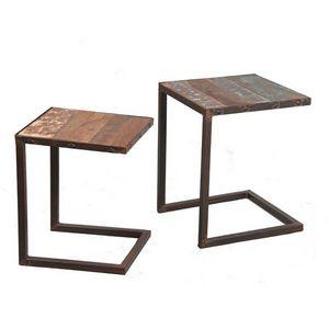 WHITE LABEL - lot de 2 tables gigognes recover en bois recyclés - Tables Gigognes