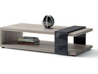 WHITE LABEL - table basse brooklyn chene gris verre gris - Table Basse Rectangulaire