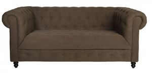 WHITE LABEL - canapé fixe 2 places chester taupe vintage - Canapé Chesterfield