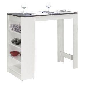WHITE LABEL - table de bar dolar blanche avec plateau aspect bét - Mange Debout