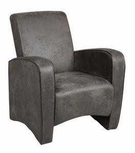 WHITE LABEL - petit fauteuil seated microfibre grise - Fauteuil