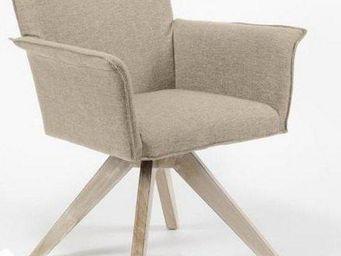 WHITE LABEL - fauteuil pivotant jacob design sablé avec piétemen - Fauteuil