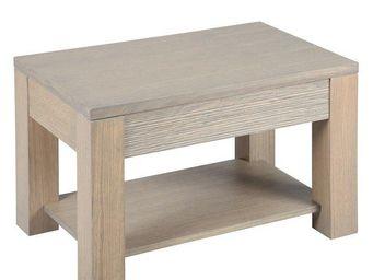 WHITE LABEL - bout de canap� hans en ch�ne massif gris taupe - Table Basse Rectangulaire