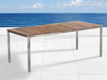 BELIANI - tables en acier inox - Table De Jardin