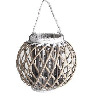 Aubry-Gaspard - lanterne en osier, bois et verre - Lanterne D'extérieur