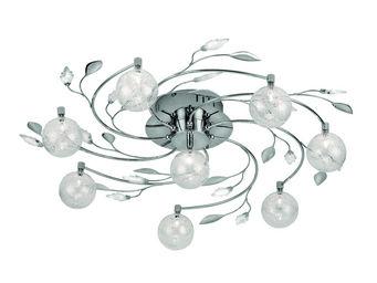 WHITE LABEL - plafonnier à 8 boules design floral - Suspension