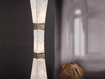 WHITE LABEL - lampadaire colonne design rustique à 3 lampes - Lampadaire
