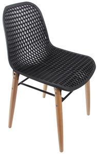 COMFORIUM - chaise moderne coloris noir et bois - Chaise