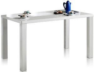 COMFORIUM - table 80x140cm coloris blanc laqué - Table De Repas Rectangulaire