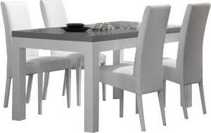 COMFORIUM - table à manger blanche et grise 160 cm + 4 chaises - Salle À Manger