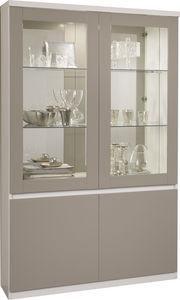 COMFORIUM - vitrine à 2 portes blanc et gris avec led intégré - Vaisselier