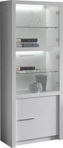 COMFORIUM - vitrine à 3 portes de coloris blanc laqué avec led - Vaisselier