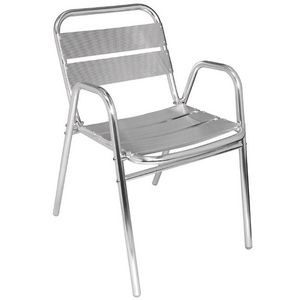 COMFORIUM - lot de 4 chaises empilables en aluminium coloris a - Fauteuil De Jardin
