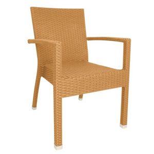 COMFORIUM - lot de 4 fauteuils en osier empilables avec accoud - Fauteuil De Jardin