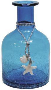 Aubry-Gaspard - vase petite bouteille en verre teint� bleu - Vase � Fleurs