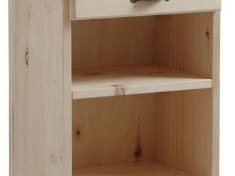 Aubry-Gaspard - table de nuit bois brut 1 etagère 1 tiroir - Table De Chevet