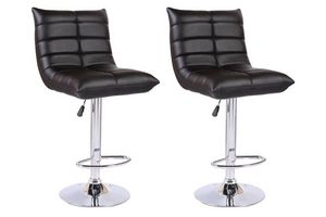 WHITE LABEL - lot de 2 chaises de bar cool similicuir noir - Chaise Haute De Bar