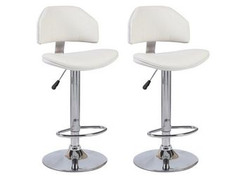 WHITE LABEL - lot de 2 chaises de bar deep similicuir blanc - Chaise Haute De Bar